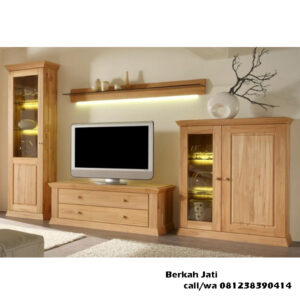 Lemari Tv Natural Jati Solid